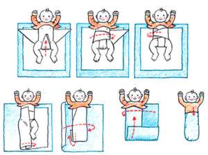 Как пеленать малыша новорожденного?