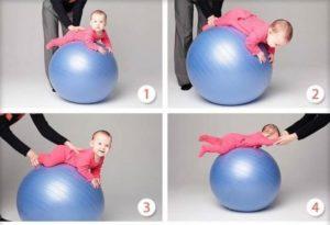 Гимнастика с ребенком 2 месяца на фитболе