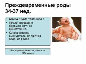 Признаки преждевременных родов 34 неделе