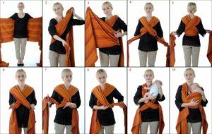 Слинг шарф для новорожденных своими руками